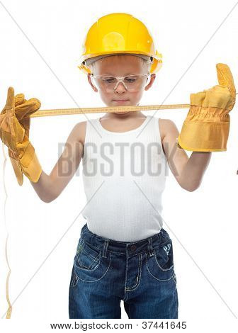 cute boy  in helmet on white background