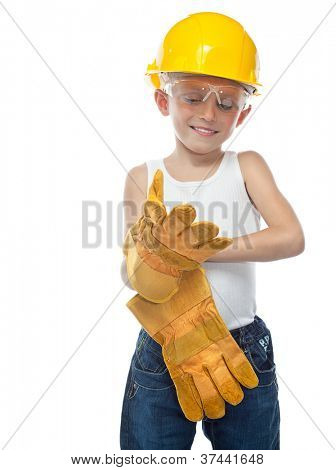 cute boy  in helmet on white background wearing gloves
