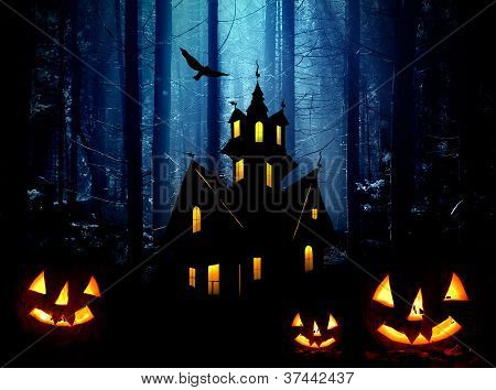 Halloween. Night. Castle And  Pumpkins.