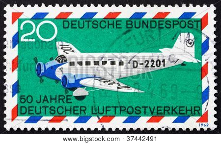 Postage stamp Germany 1969 Junkers 52, airplane