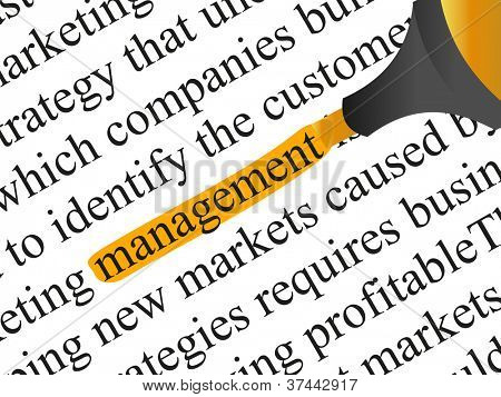 High resolution concept or conceptual abstract black text isolated on white paper background with a orange marker as a metaphor for management,business ,marketing,target,highlight,solution or branding