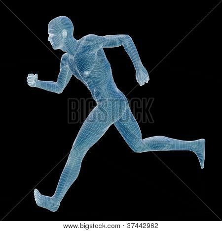High resolution concept or conceptual 3d male or man running over a black background as a metaphor for anatomy,body,biology,medicine,muscle,mesh,muscular,anatomical,science,education,sport or x-ray