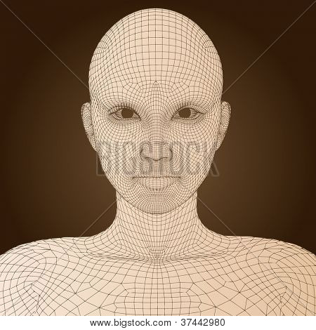 High resolution concept or conceptual 3D wireframe human female head isolated on brown background as metaphor for technology,cyborg,digital,virtual,avatar,science,fiction, future,mesh,vintage abstract
