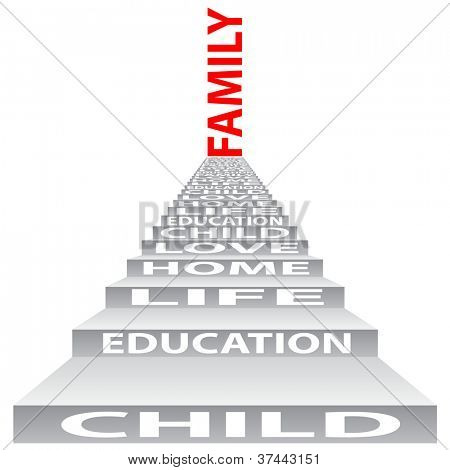 High resolution concept or conceptual 3D stair or steps isolated on white background as a metaphor for child,family,education,life,home,love and for school,learn,wisdom,success,teach or achievement