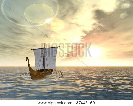 Concept or conceptual old ship or sailboat in wavy water in a sea or ocean over a sky with clouds, sun at sunset as a metaphor for nature,summer,vacation,tourism,sail,tropical,peace,yachting or free