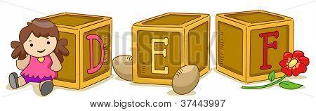 Ilustração de blocos de madeira com as letras DEF estampada