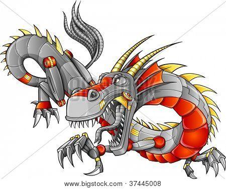 Robot Cyborg Dragon Vector Illustration art