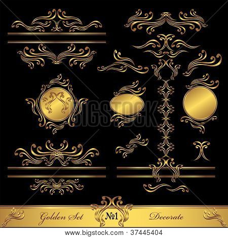 Golden Set Calligraphic and Decorate elements