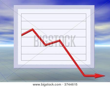 Concepto 3D de Crisis financiera negocio gráfico bajando