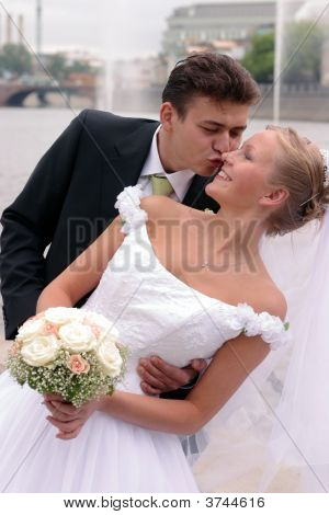 Newlywed Couple On Wedding Day