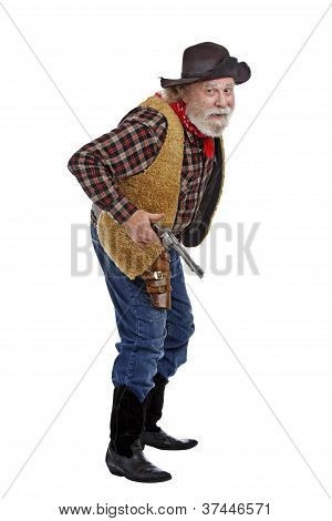 Cautious Old Cowboy Ready With His Gun