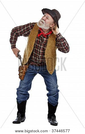 Old Cowboy Draws His Gun And Listens