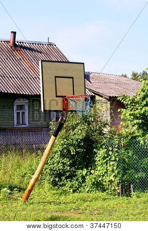 Basketball board with a basket