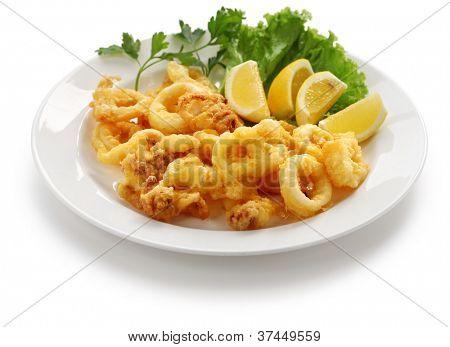 fried calamari, fried squid with lemon