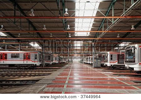 PRAGUE, CZECH REPUBLIC - SEPTEMBER 17: Modernized subway trains 81-71M in Depot Hostivar on Open Doors Day in the Prague Public Transport Company on September 17, 2011 in Prague