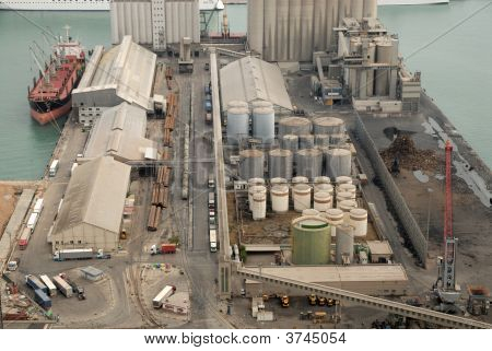Aerial View Of Industrial Port