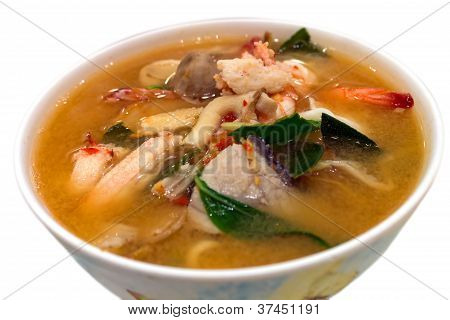 Isolated Spicy Mixed Seafood Soup