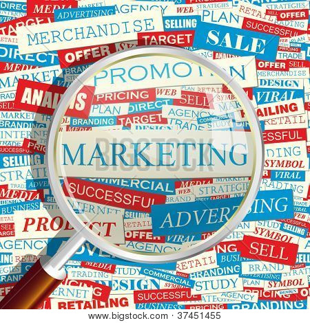 MARKETING. Magnifying glass and seamless background.