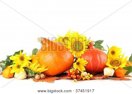 Autumn decoration with sunflowers and hokkaido pumpkins
