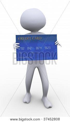 3D Man Holding Credit Card