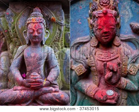 Stone bas-relief in Bhaktapur, Nepal