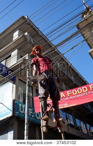 nepalese street acrobat