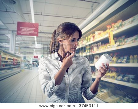 Girl Unsure At Supermarket