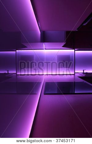kitchen with purple led lighting