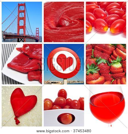 a collage of nine pictures of different red things, as the Golden Bridge, tomato sauce, baby plum tomatoes, Piquillo peppers, a heart sign, strawberries, a heart-shaped balloon or red wine