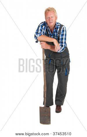 Senior gardener standing in studio isolated over white background