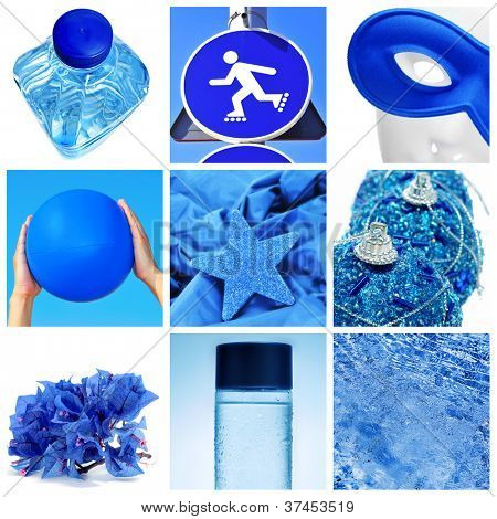 a collage of nine pictures of different blue things, as a water bottle, a traffic sign, a carnival mask, a beach ball, some christmas ornaments, some flowers or water