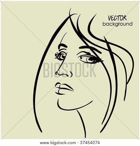 art sketching vector beautiful girl face symbols
