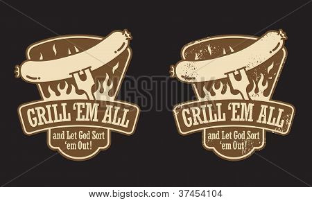Barbecue Hot Dog Vector Emblem