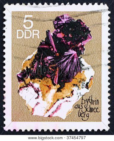 Postage stamp GDR 1969 Erythrite from Schneeberg, Mineral