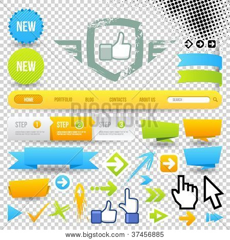 Web Template Icon and Arrows. Design Elements. Site Navigation.