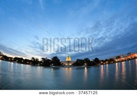 Washington DC, US Capitol Building in a cloudy sunrise - fish eye view