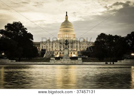Washington DC, US Capitol Building in a cloudy sunrise