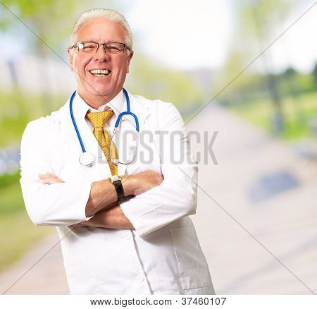 Portrait Of A Senior Man Doctor, Outdoor