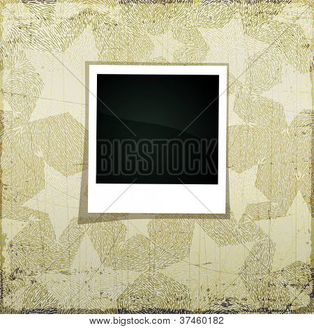 Christmas grunge scrapbook banner with empty photo frame for Your picture, vector eps10 illustration