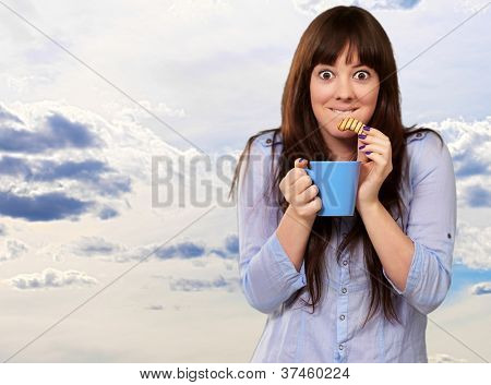 Woman With Coffee And Cookies, Outdoor