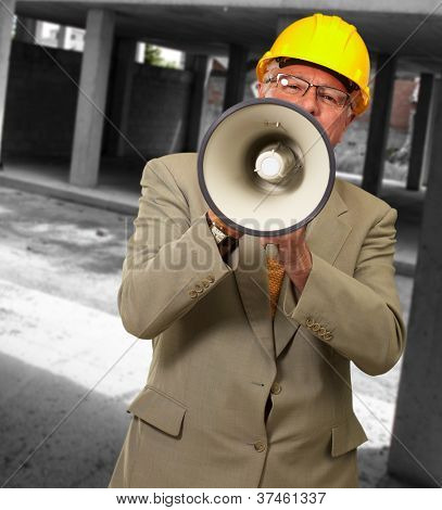 Portrait Of A Senior Man With Megaphone, Outdoor