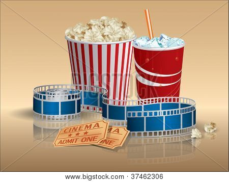 Popcorn, soda and movie tickets with filmstrip
