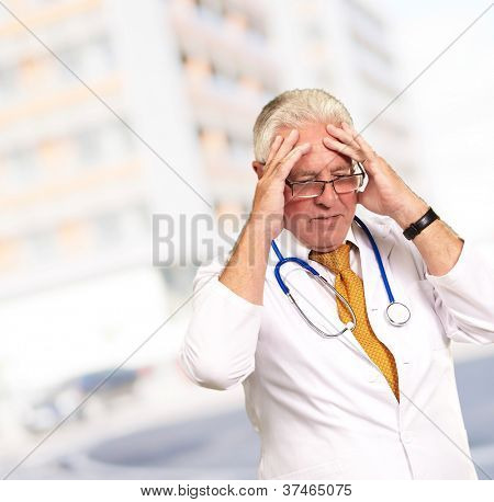 Portrait Of A Senior Doctor, Outdoor