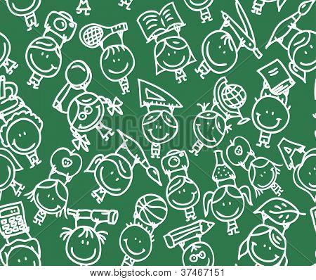 Happy doodle kids go back to school on school blackboard texture