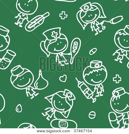 Seamless background of doodle happy children with medical tools plays hospital on school blackboard texture