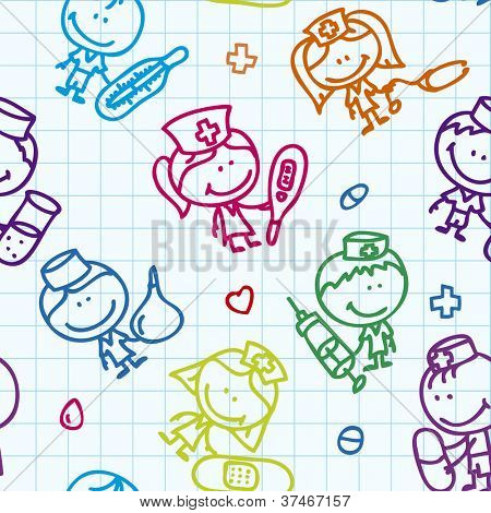 Seamless background of doodle happy children with medical tools plays hospital on school paper texture