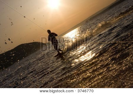Riding Wakeboard