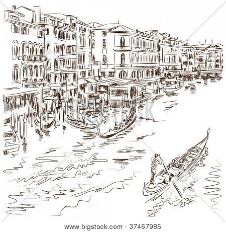 Venice - Grand Canal. The view from the Rialto Bridge. Bitmap copy my vector