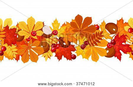 Horizontal seamless background with autumn leaves. Vector illuatration.