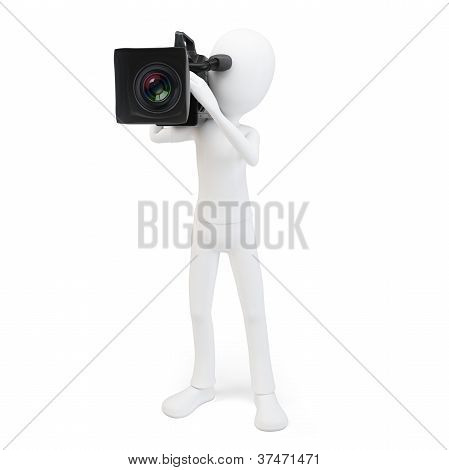 3d man cameraman with video camera on white background